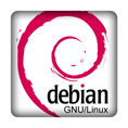 3D-Aufkleber Debian GNU/Linux 25x25mm